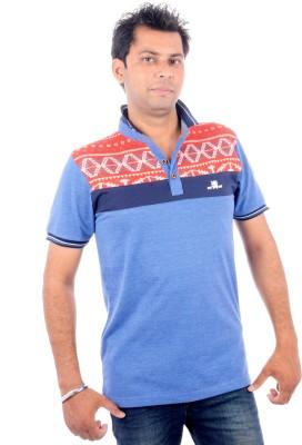 Brandwear Printed Men's Polo Neck Blue T-Shirt