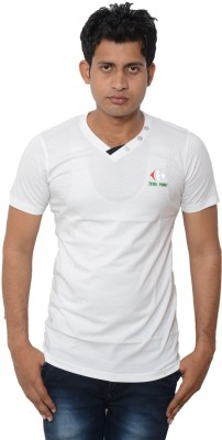 Lampara Solid Men's V-neck White T-Shirt