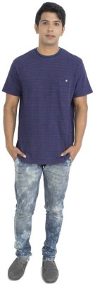 Petroficio Striped Men's Round Neck Blue T-Shirt