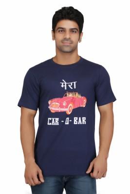 Crazeis Printed Men's Round Neck Dark Blue T-Shirt