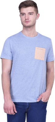 Blue Buddha Solid Men's Round Neck Blue T-Shirt
