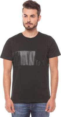 Shuffle Printed Men's Round Neck Black T-Shirt