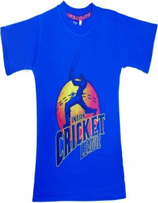 Sweet Angel Printed Boy's Round Neck Blue T-Shirt