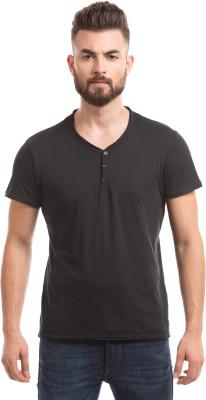 Shuffle Solid Men's Round Neck Black T-Shirt