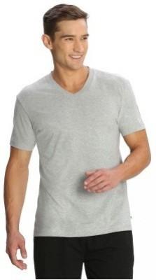 Bright deals Solid Men's V-neck Grey T-Shirt