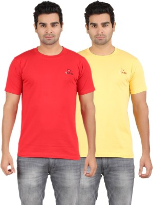 U Lead Solid Men's Round Neck Yellow, Red T-Shirt