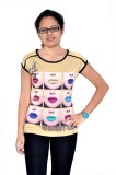 Gee & Bee Printed Women's Round Neck Bei...
