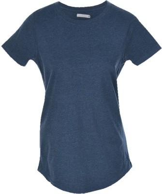 Nordlich Solid Women,s Round Neck Blue T-Shirt