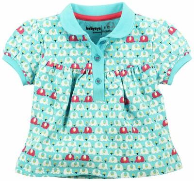 Babyoye Premium Printed Baby Girl's Peter Pan Collar Light Blue T-Shirt