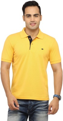 Byrock Solid Men's Polo Neck Yellow T-Shirt