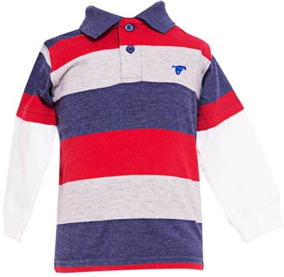 Parv Collections Striped Baby Boy,s Polo Neck Multicolor T-Shirt