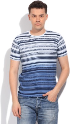 Integriti Striped Men's Round Neck White, Blue T-Shirt