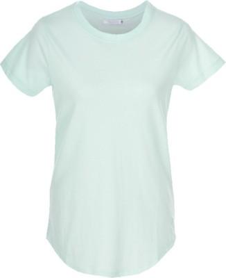 Nordlich Solid Women,s Round Neck Green T-Shirt