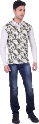 Black Sparrow Printed Men's Polo Neck Beige T-Shirt