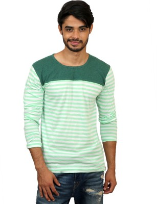 Magnoguy Striped Men's Round Neck Green, White T-Shirt