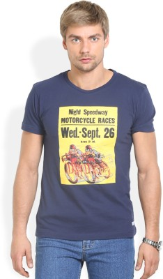 HW Printed Men,s Round Neck Blue T-Shirt