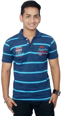 Lemon Slice Striped Men's Polo Neck Blue, Light Blue T-Shirt