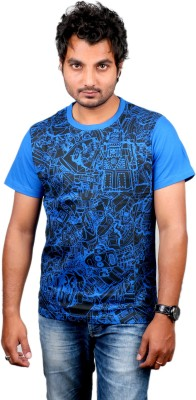 Ditto Graphic Print Men's Round Neck Blue T-Shirt