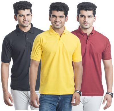 Bainsons Solid Men,s Polo Maroon, Yellow, Black T-Shirt