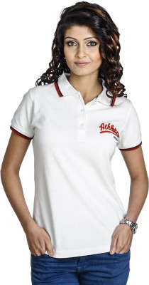 Belly Bottom Solid Women's Polo Neck White T-Shirt