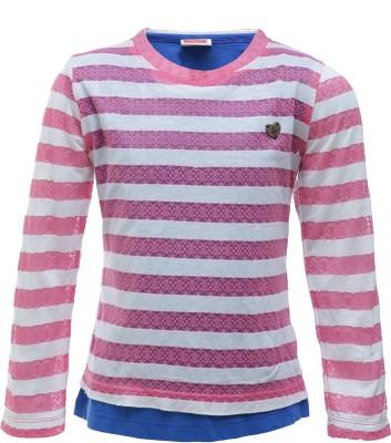 UFO Striped Girl's Round Neck Pink T-Shirt