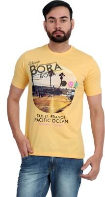 Urban Republic Printed Men's Round Neck Yellow T-Shirt