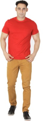 ISHWA Graphic Print Men's Round Neck Red T-Shirt