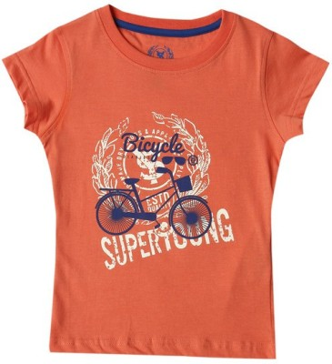 SuperYoung Printed Girl's Round Neck Orange T-Shirt