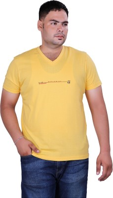 Vivid Bharti Printed Men's V-neck Yellow T-Shirt