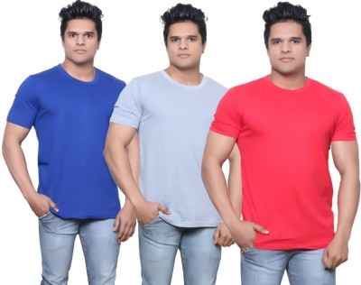 IndiStar Solid Men's Fashion Neck Purple, Grey, Red T-Shirt