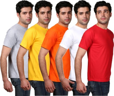 Tageuro Solid Men's Round Neck Multicolor T-Shirt