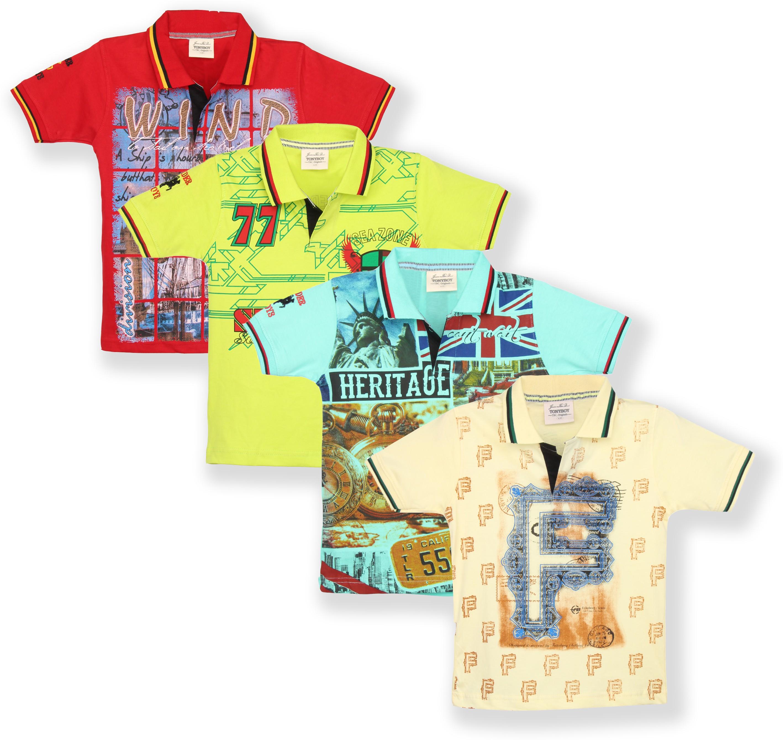 TonyBoy Printed Boys Polo Neck Multicolor T-Shirt