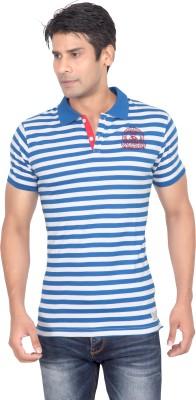 Stoke Striped Men's Polo Neck Blue, White T-Shirt