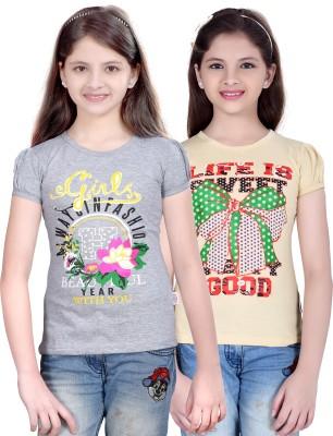 sinimini Printed Girls Round Neck Silver, Beige T-Shirt