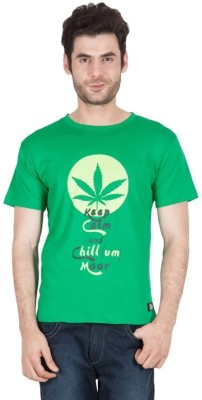 The Enthu Cutlet Graphic Print Men's Round Neck Light Green T-Shirt