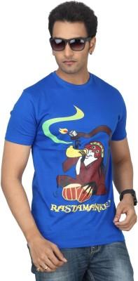 Bandarwalla Printed Men,s Round Neck Dark Blue T-Shirt