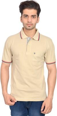 Urban Trail Solid Men's Polo Neck Beige T-Shirt
