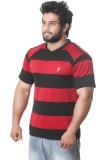 Stylar Striped Men's V-neck Denim Red, B...