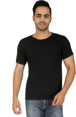 Faded Finch Solid Men's Round Neck Black T-Shirt