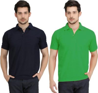 Krazy Katz Solid Men's Polo Neck Dark Blue, Light Green T-Shirt
