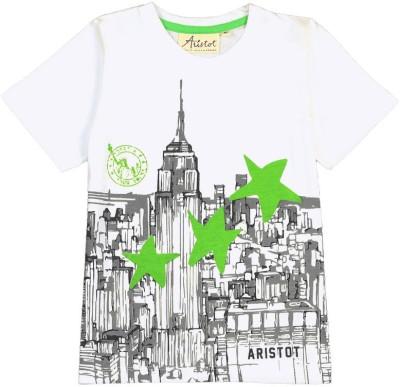 Aristot Graphic Print Boy,s Round Neck Grey T-Shirt