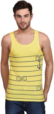 Habitude Printed Men's Round Neck Yellow T-Shirt