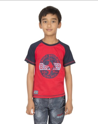 Ocean Race Printed Boy's Round Neck Red, Blue T-Shirt