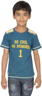 Ocean Race Printed Boy's Round Neck Dark Blue, Yellow T-Shirt