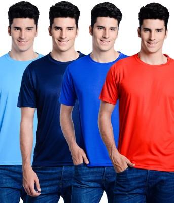 Superjoy Solid Men's Round Neck Light Blue, Dark Blue, Blue, Red T-Shirt