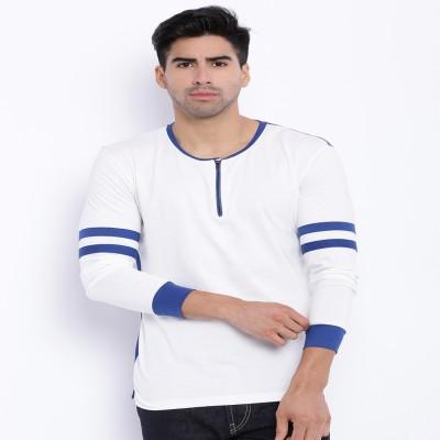 Le Bison Solid Men's Round Neck White T-Shirt