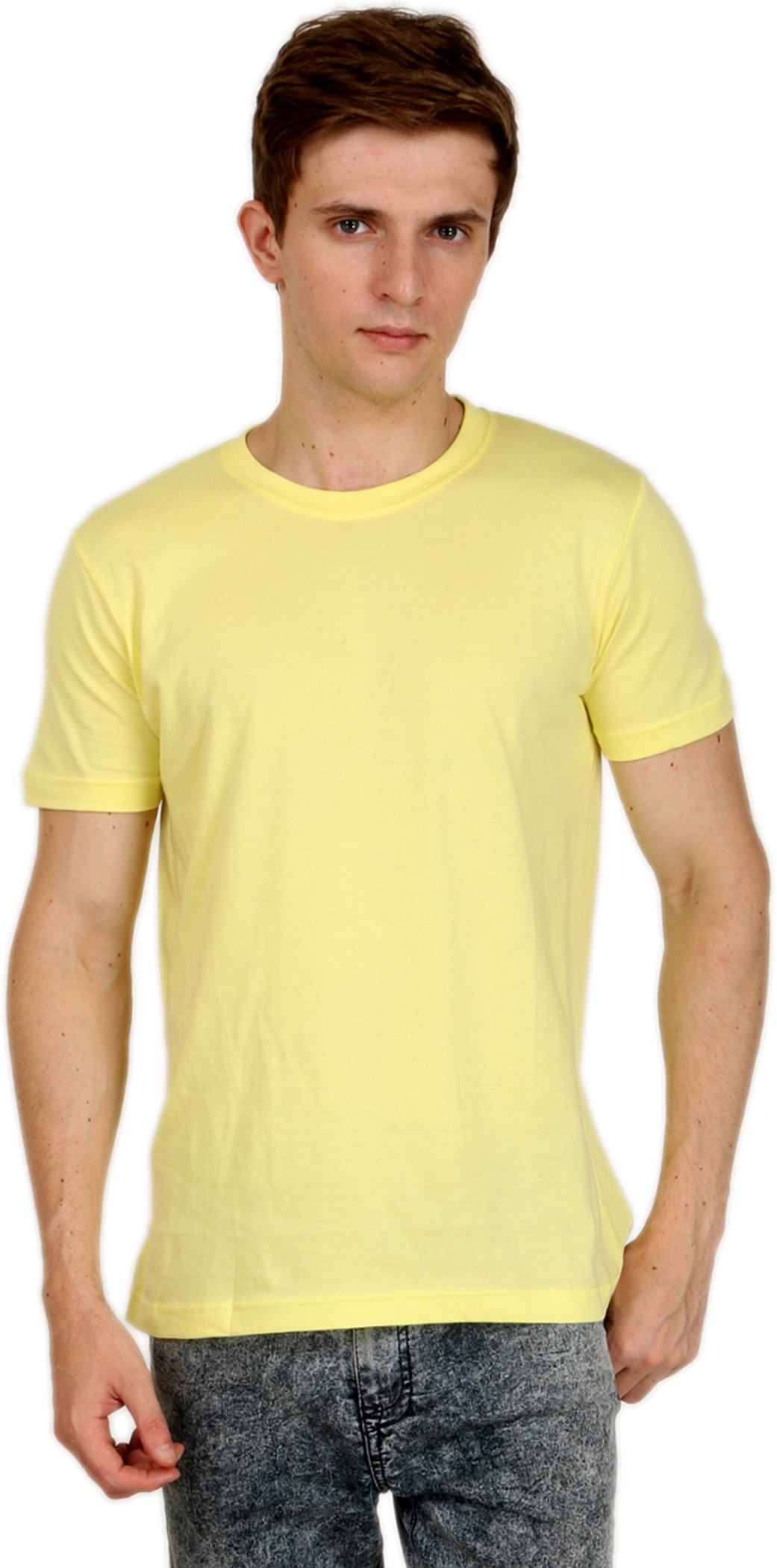 Shopping Monster Solid Men's Round Neck Yellow T-Shirt