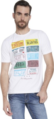 Globus Graphic Print Men's Round Neck White T-Shirt