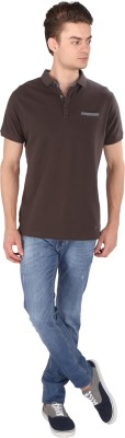 Caricature Solid Men's Round Neck Green T-Shirt