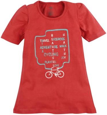 Oye Printed Baby Girl's Round Neck Orange T-Shirt